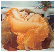 Woman In A Dress Prints - Flaming June Print by Lord Frederick Leighton
