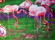 Flock Of Birds Painting Metal Prints - Flamingos Metal Print by Art by Kar