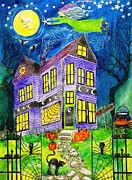 Haunted House Paintings - Flight of the Moon Witch on Hallows Eve by Janet Immordino