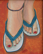 Flip-flops Paintings - Flip Flop Fun by Debora Baxter Jackson