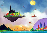 Science Fiction Art Originals - Floating City by James Smith