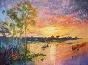 Floods Paintings - Flooded Sunset by Marie Green