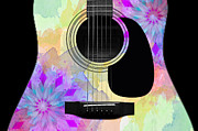 Strings Digital Art Posters - Floral Abstract Guitar 16 Poster by Andee Photography