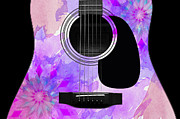 Strings Digital Art Posters - Floral Abstract Guitar 17 Poster by Andee Photography