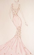 Fashion Illustration Pastels Posters - Floral Fantasy Gown  Poster by Christine Corretti
