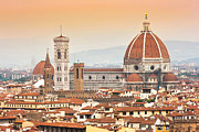 Tuscan Sunset Posters - Florence Cathedral at sunset Poster by JR Photography