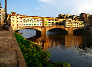 Watercolor Map Photos - Florence Italy Ponte Vecchio by Irina Sztukowski