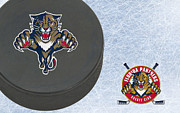 Puck Prints - Florida Panthers Print by Joe Hamilton