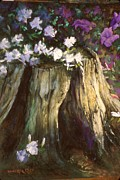 Purple Flowers Pastels Posters - Flowering tree stump Poster by Howard Scherer