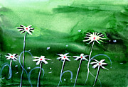 Peaceful Scene Paintings - Flowers 3 by Anil Nene