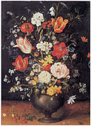 Flowers In White Vase Posters - Flowers in a Metal Vase Poster by Jan Brueghel the Younger
