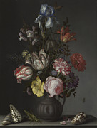 Wan-li Prints - Flowers in a Vase with Shells and Insects Print by Balthasar van der Ast