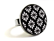Black Ring Jewelry - Flowers In Black And White Ring by Rony Bank