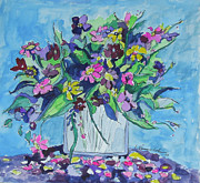 Impressionism Acrylic Prints Art - Flowers in Blue and Purple by Esther Newman-Cohen