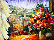 Jerusalem Painting Posters - Flowers of Jerusalem Poster by Leonid Afremov