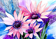 Watercolor Mixed Media Posters - Flowers Poster by Slaveika Aladjova
