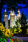 Slc Framed Prints - Flowers SLC Temple Night Framed Print by La Rae  Roberts