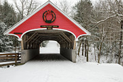 Snow-covered Landscape Photo Prints - Flume Covered Bridge - White Mountains New Hampshire USA Print by Erin Paul Donovan