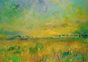 Demeter Gui Art - Flying over blossoming meadow by Demeter Gui