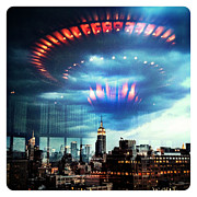 Nyc Digital Art Posters - Flying Saucer Poster by Natasha Marco