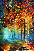 Original Fall Landscape Paintings - Fog Alley by Leonid Afremov