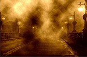 Street Lamps Digital Art Posters - Foggy night at the bridge Poster by Holly Martinson