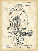 Parchment Framed Prints - Football Helmet Patent Framed Print by Stephen Younts