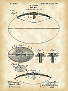 Antique Fan Framed Prints - Football Patent Framed Print by Stephen Younts