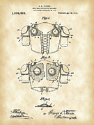 Parchment Framed Prints - Football Shoulder Pads Patent Framed Print by Stephen Younts
