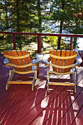Railing Photo Prints - Forest cottage deck and chairs Print by Elena Elisseeva