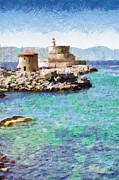 Rhodes Posters - Fort of Rhodes painting Poster by Magomed Magomedagaev