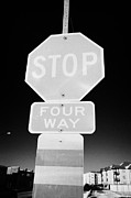 Stop Sign Framed Prints - four way stop sign with crosswalk Canada Framed Print by Joe Fox