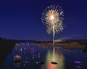 Pennybacker Bridge Prints - Fourth of July celebration on Lake Austin Print by Steven Ng