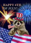 Wildlife Celebration Digital Art - Fourth of July Raccoon by Jeanette K