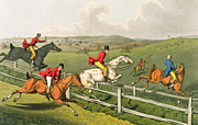 Fence Painting Metal Prints - Fox hunting Metal Print by Henry Thomas Alken