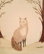 Fauna Pastels Metal Prints - Fox in an Autumn Landscape Metal Print by Christine Corretti