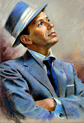 Fly Pastels Framed Prints - Frank Sinatra  Framed Print by Ylli Haruni