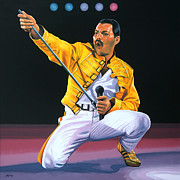 Crazy Painting Posters - Freddy Mercury Poster by Paul  Meijering