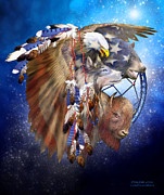 Native American Art Mixed Media Posters - Freedom Lives Poster by Carol Cavalaris
