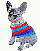 Jumper Painting Framed Prints - French Bulldog  Framed Print by Brian Buckley