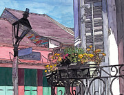 Garden District Paintings - French Quarter Porch by John Boles