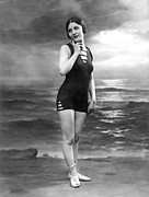 1920 Framed Prints - French Woman In A Bathing Suit Framed Print by Underwood Archives