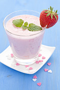 Strawberry Milkshake Framed Prints - Fresh Strawberry Shake  Framed Print by Corinna  Gissemann