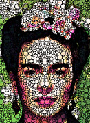 Rock Art - Frida Kahlo Art - Define Beauty by Sharon Cummings