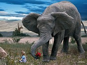 Elephants Digital Art - Friends by Bill Stephens