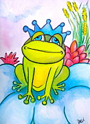 Blue Flowers Drawings - Frog Prince by Debi Pople