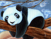 Blue Panda Framed Prints - From Okin the Panda illustration 7 Framed Print by Hiroko Sakai