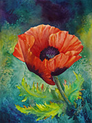 Watercolorist Framed Prints - From the Poppy Patch Framed Print by Karen Mattson