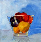 Glass Reflecting Posters - Fruit Bowl Poster by Nancy Merkle