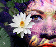 Beauty Mixed Media Prints - Full Moon Lakshmi Print by Christopher Beikmann